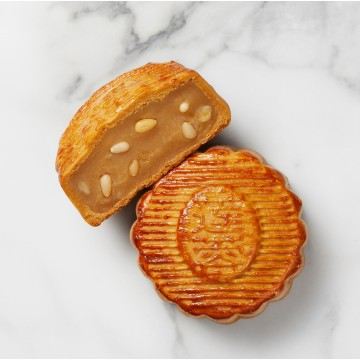 Baked Low Sugar White Lotus Paste w Pine Nuts Mooncake
